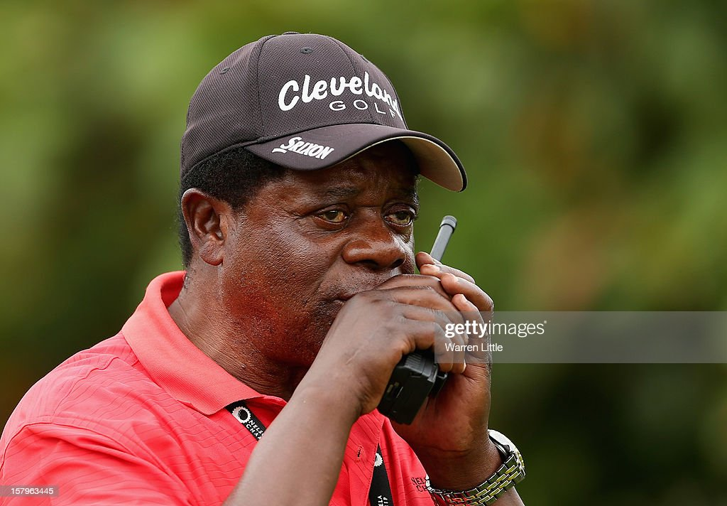 Theo Manyama, Tournament Director of the Sunshine Tour keeps an eye on proceedings during the first round of The Nelson Mandela Championship presented by ISPS Handa at Royal Durban Golf Club on December 8, 2012 in Durban, South Africa.