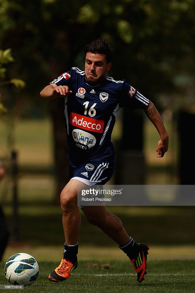 Theo Markelis runs with the ball during a Melbourne Victory A-League training session at Gosch's Paddock on November 20, 2012 in Melbourne, Australia.