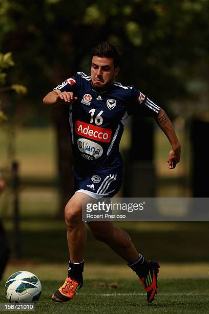 Theo Markelis runs with the ball during a Melbourne Victory ALeague training session at Gosch's Paddock on November 20 2012 in Melbourne Australia