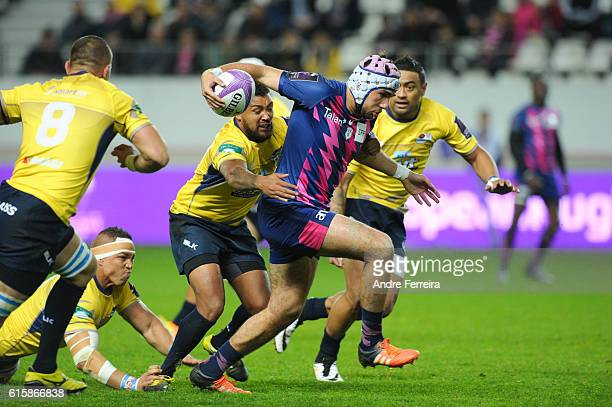 Theo Millet of Stade Francais during the Challenge Cup match between Stade Francais Paris and Timisoara Saracens at Stade Jean Bouin on October 20...