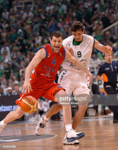 Theo Papaloukas of CSKA Moscow gets by Unicaja Malaga's Jiri Welsch during the Euroleague Final Four Semi Final on May 4th 2007 at the OAKA Arena in...