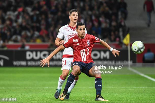 Theo Pellenard of Bordeaux and Anwar El Ghazi of Lille during the Ligue 1 match between Lille OSC and FC Girondins de Bordeaux at Stade Pierre Mauroy...