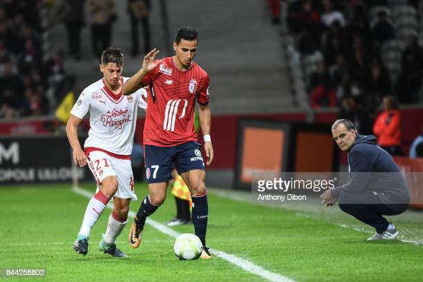 Theo PELLENARD of Bordeaux and Anwar El Ghazi of Lille under the eyes of Marcelo Bielsa coach of Lille during the Ligue 1 match between Lille OSC and...