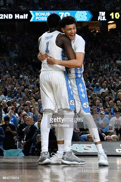 Theo Pinson and Joel Berry II of the North Carolina Tar Heels celebrate during the 2017 NCAA Men's Final Four National Championship game against the...