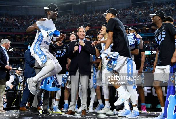 Theo Pinson of the North Carolina Tar Heels and team mates celebrate after winning during the 2017 NCAA Men's Final Four National Championship game...