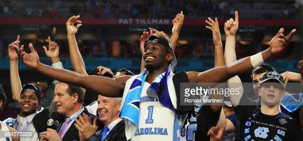 Theo Pinson of the North Carolina Tar Heels celebrates after defeating the Gonzaga Bulldogs during the 2017 NCAA Men's Final Four National...