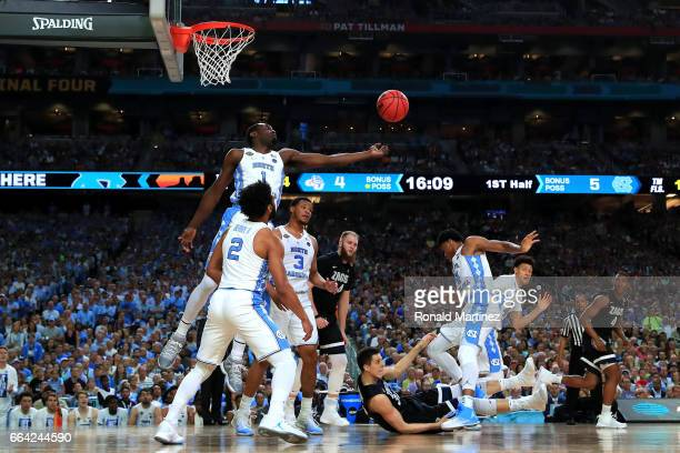 Theo Pinson of the North Carolina Tar Heels goes for a rebound in the first half against the Gonzaga Bulldogs during the 2017 NCAA Men's Final Four...