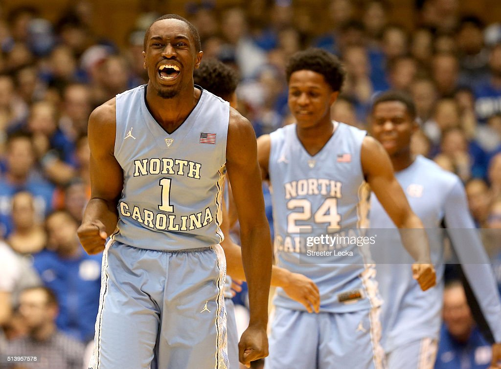Theo Pinson of the North Carolina Tar Heels reacts during their game against the Duke Blue Devils at Cameron Indoor Stadium on March 5 2016 in Durham...