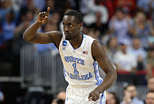 Theo Pinson of the North Carolina Tar Heels reacts in the first half against the Providence Friars during the second round of the 2016 NCAA Men's...