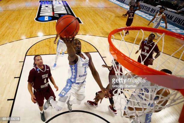 Theo Pinson of the North Carolina Tar Heels shoots against the Texas Southern Tigers in the second half during the first round of the 2017 NCAA Men's...