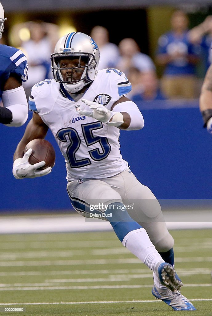 Theo Riddick #25 of the Detroit Lions runs down the field during the fourth quarter in the game against the Indianapolis Colts at Lucas Oil Stadium on September 11, 2016 in Indianapolis, Indiana.
