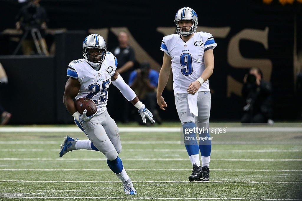 <a gi-track='captionPersonalityLinkClicked' href=/galleries/search?phrase=Theo+Riddick&family=editorial&specificpeople=6235084 ng-click='$event.stopPropagation()'>Theo Riddick</a> #25 of the Detroit Lions runs for yards during the second half of a game against the New Orleans Saints at the Mercedes-Benz Superdome on December 21, 2015 in New Orleans, Louisiana.