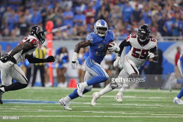 Theo Riddick of the Detroit Lions runs the ball late in the fourth quarter against the Atlanta Falcons at Ford Field on September 24 2017 in Detroit...
