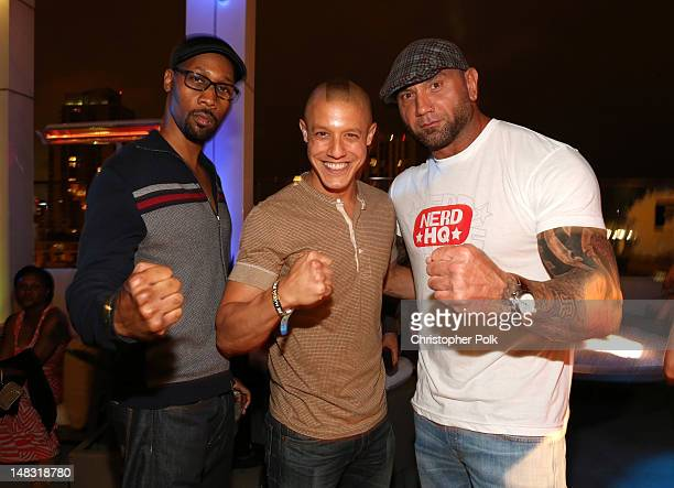 RZA Theo Rossi and Dave Batista attend the Maxim FX and Fox Home Entertainment ComicCon Party at Andaz on July 13 2012 in San Diego California