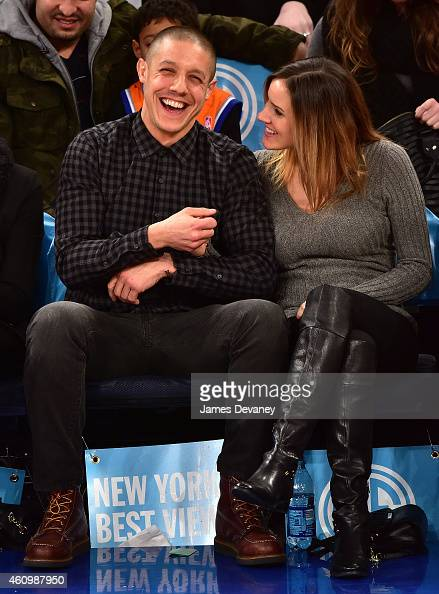 Theo Rossi and Meghan McDermott attend the Detroit Pistons vs New York Knicks game at Madison Square Garden on January 2 2015 in New York City