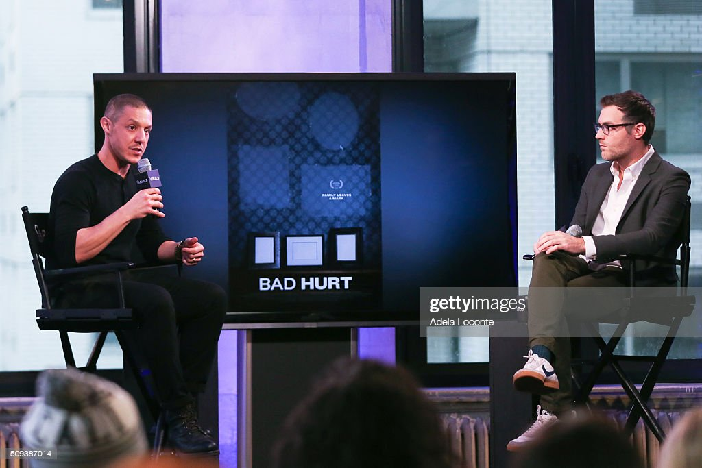 <a gi-track='captionPersonalityLinkClicked' href=/galleries/search?phrase=Theo+Rossi&family=editorial&specificpeople=4015330 ng-click='$event.stopPropagation()'>Theo Rossi</a> discusses 'Bad Hurt' at AOL Studios In New York on February 10, 2016 in New York City.