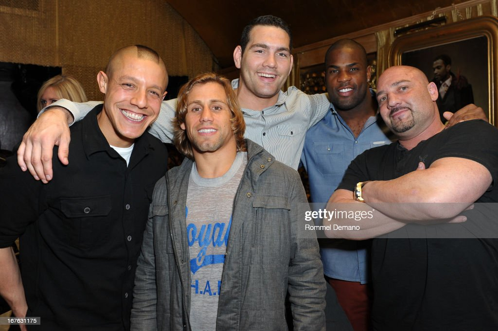 Theo Rossi Urijah Faber Chris Weidman DeMarco Murray and Jay Glazer attend the Help Rebuild New York benefit at Gold Bar on April 26 2013 in New York...