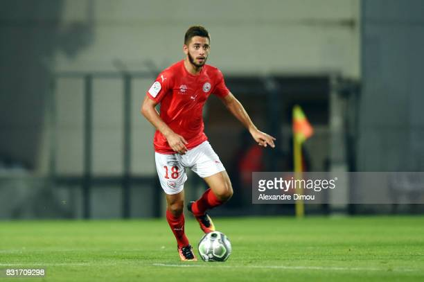 Theo Valls of Nimes during the Ligue 2 match between Nimes Olympique and As Nancy Lorraine at Stade des Costieres on August 14 2017 in Nimes