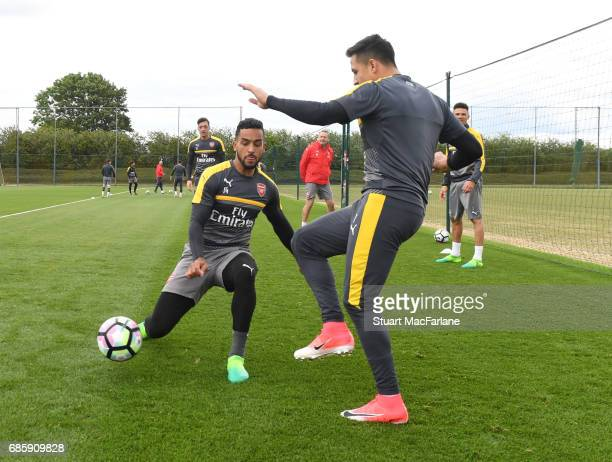 Theo Walcott and Alexis Sanchez of Arsenal during a training session at London Colney on May 20 2017 in St Albans England