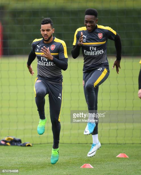 Theo Walcott and Danny Welbeck of Arsenal during a training session at London Colney on April 29 2017 in St Albans England