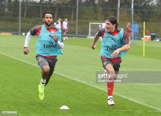 Theo Walcott and Hector Bellerin of Arsenal during a training session at London Colney on July 26 2017 in St Albans England