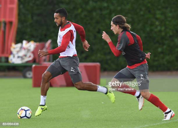 Theo Walcott and Hector Bellerin of Arsenal during a training session at London Colney on August 18 2017 in St Albans England