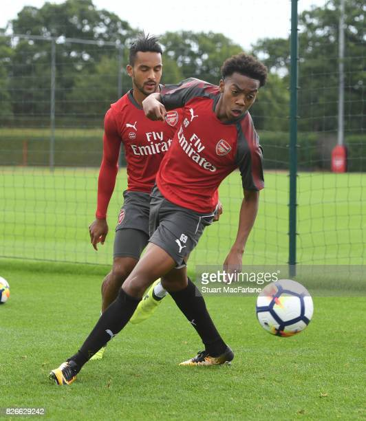Theo Walcott and Joe Willock of Arsenal during a training session at London Colney on August 5 2017 in St Albans England