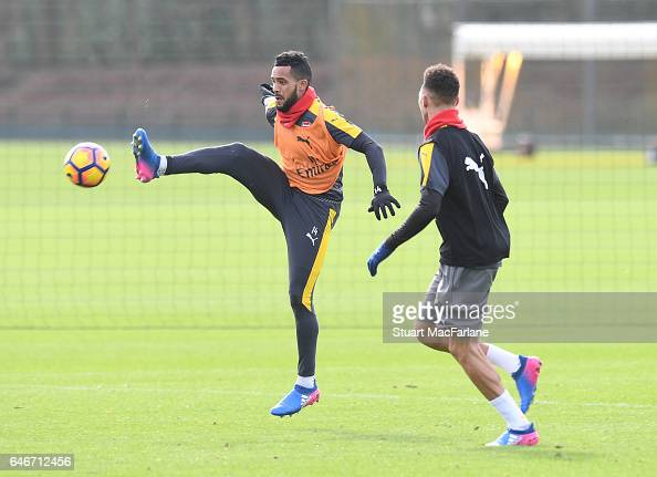 Theo Walcott and Kieran Gibbs of Arsenal during a training session at London Colney on March 1 2017 in St Albans England
