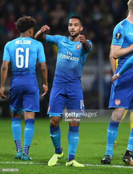 Theo Walcott celebrates scoring Arsenal's second goal during the UEFA Europa League group H match between BATE Borisov and Arsenal FC at BorisovArena...