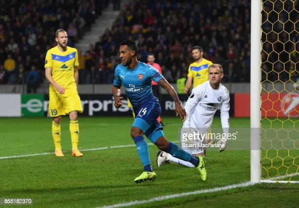Theo Walcott celebrates scoring for Arsenal during the UEFA Europa League group H match between BATE Borisov and Arsenal FC at BorisovArena on...