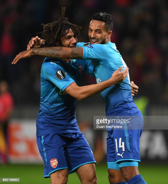 Theo Walcott celebrates scoring the 2nd Arsenal goal with Mohamed Elneny during the UEFA Europa League group H match between BATE Borisov and Arsenal...
