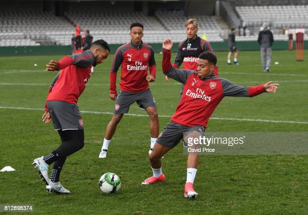 Theo Walcott Cohen Bramall and Donyell Malen of Arsenal during the Arsenal Training Session at at Koragah Oval on July 12 2017 in Sydney Australia