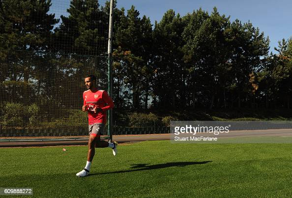 Theo Walcott of Arsenal before a training session at London Colney on September 23 2016 in St Albans England