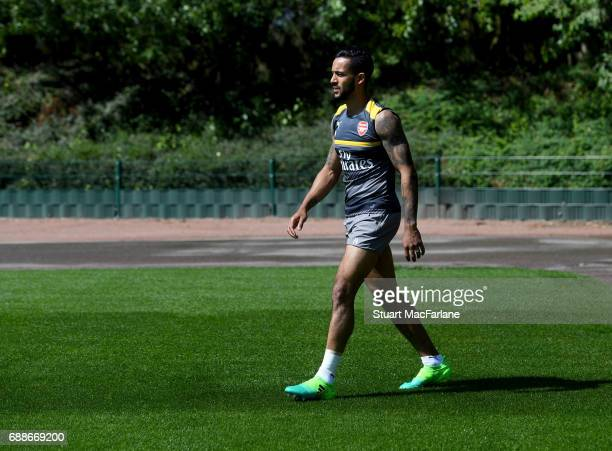 Theo Walcott of Arsenal before a training session at London Colney on May 26 2017 in St Albans England