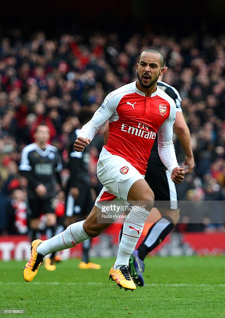 <a gi-track='captionPersonalityLinkClicked' href=/galleries/search?phrase=Theo+Walcott&family=editorial&specificpeople=451535 ng-click='$event.stopPropagation()'>Theo Walcott</a> of Arsenal celebrates after scoring his team's first goal during the Barclays Premier League match between Arsenal and Leicester City at Emirates Stadium on February 14, 2016 in London, England.