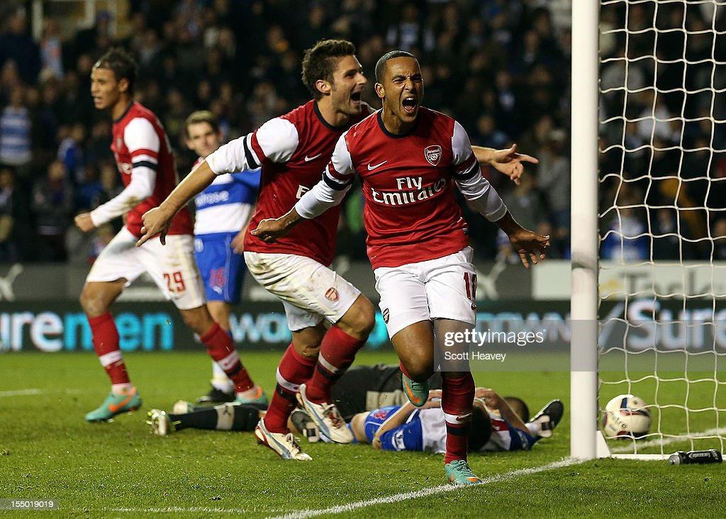 Theo Walcott of Arsenal celebrates their sixth goal during the Capital One Cup Fourth Round match between Reading and Arsenal at Madejski Stadium on October 30, 2012 in Reading, England.