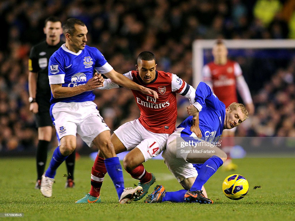 Theo Walcott of Arsenal challenged Leon Osmon (L) and Tony Hibbert (R) of Everton during the Barclays Premier League match between Everton and Arsenal at Goodison Park on November 28, 2012 in Liverpool, England.