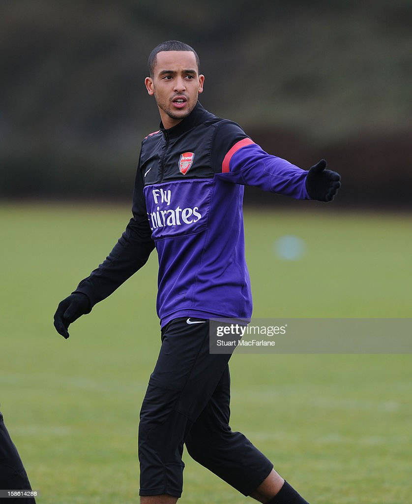 <a gi-track='captionPersonalityLinkClicked' href=/galleries/search?phrase=Theo+Walcott&family=editorial&specificpeople=451535 ng-click='$event.stopPropagation()'>Theo Walcott</a> of Arsenal during a training session at London Colney on December 21, 2012 in St Albans, England.