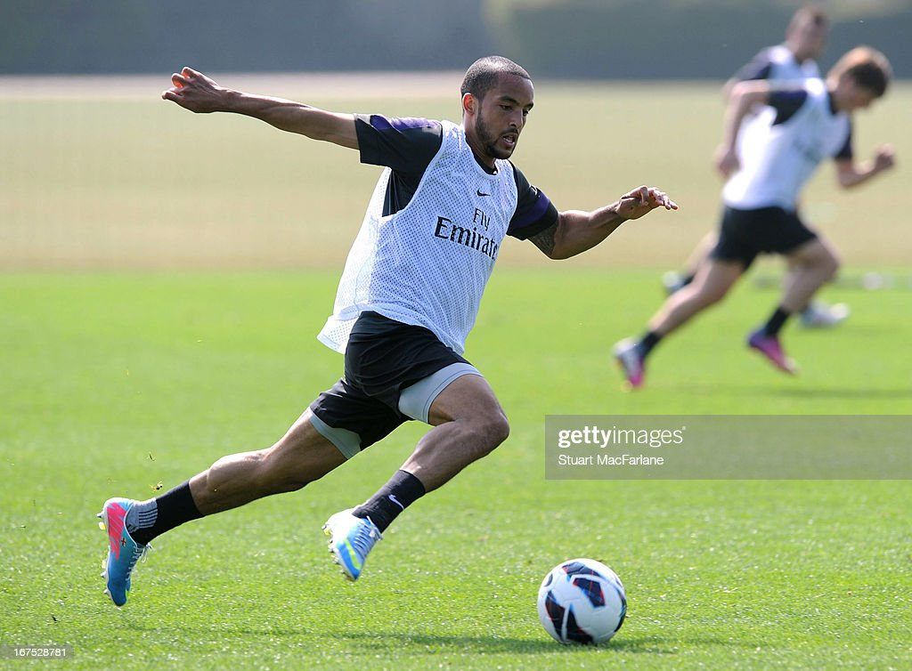 Theo Walcott of Arsenal during a training session at London Colney on April 26, 2013 in St Albans, England.