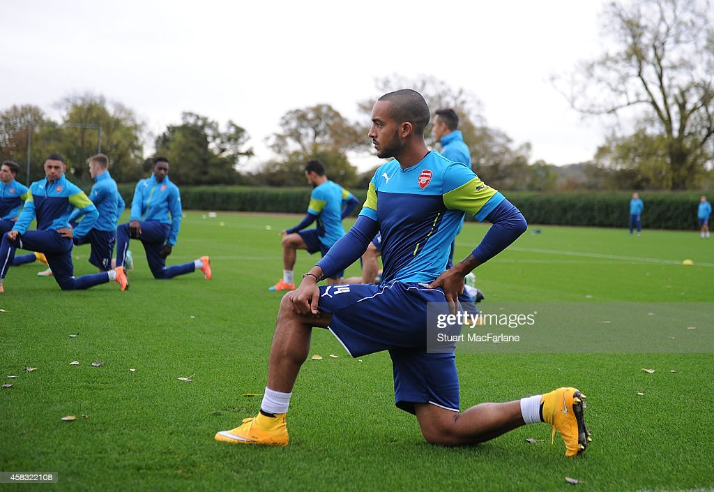Theo Walcott of Arsenal during a training session at London Colney on November 3, 2014 in St Albans, England. Photo by Stuart MacFarlane/Arsenal FC via Getty Images)