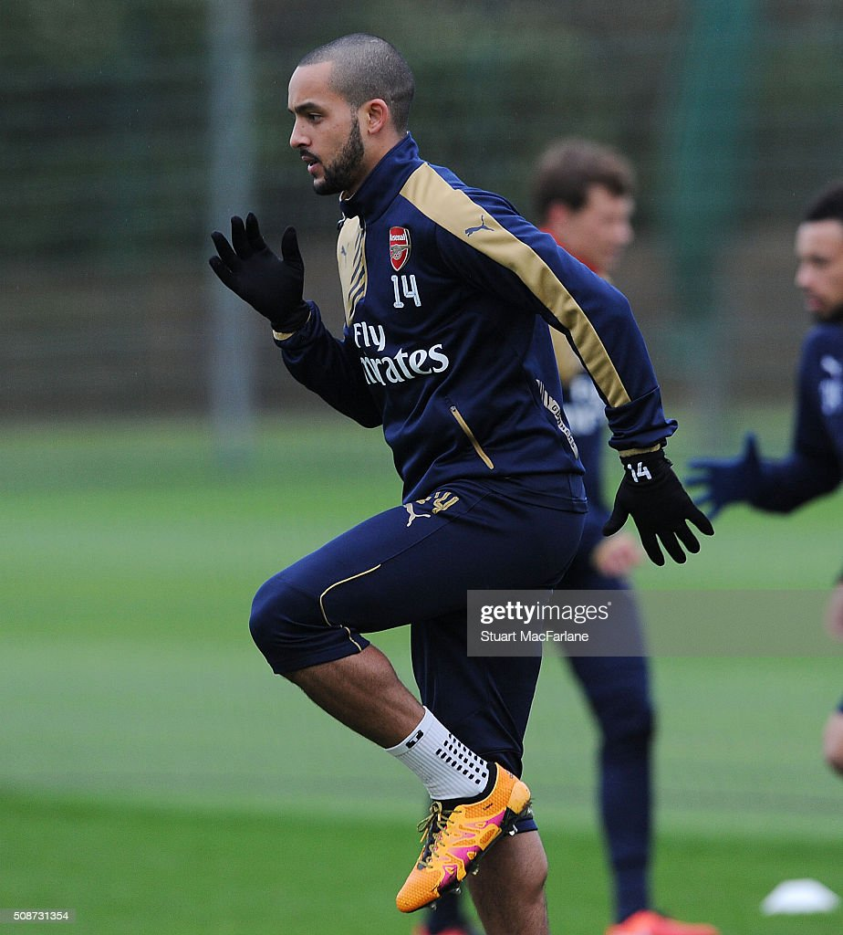 <a gi-track='captionPersonalityLinkClicked' href=/galleries/search?phrase=Theo+Walcott&family=editorial&specificpeople=451535 ng-click='$event.stopPropagation()'>Theo Walcott</a> of Arsenal during a training session at London Colney on February 6, 2016 in St Albans, England.