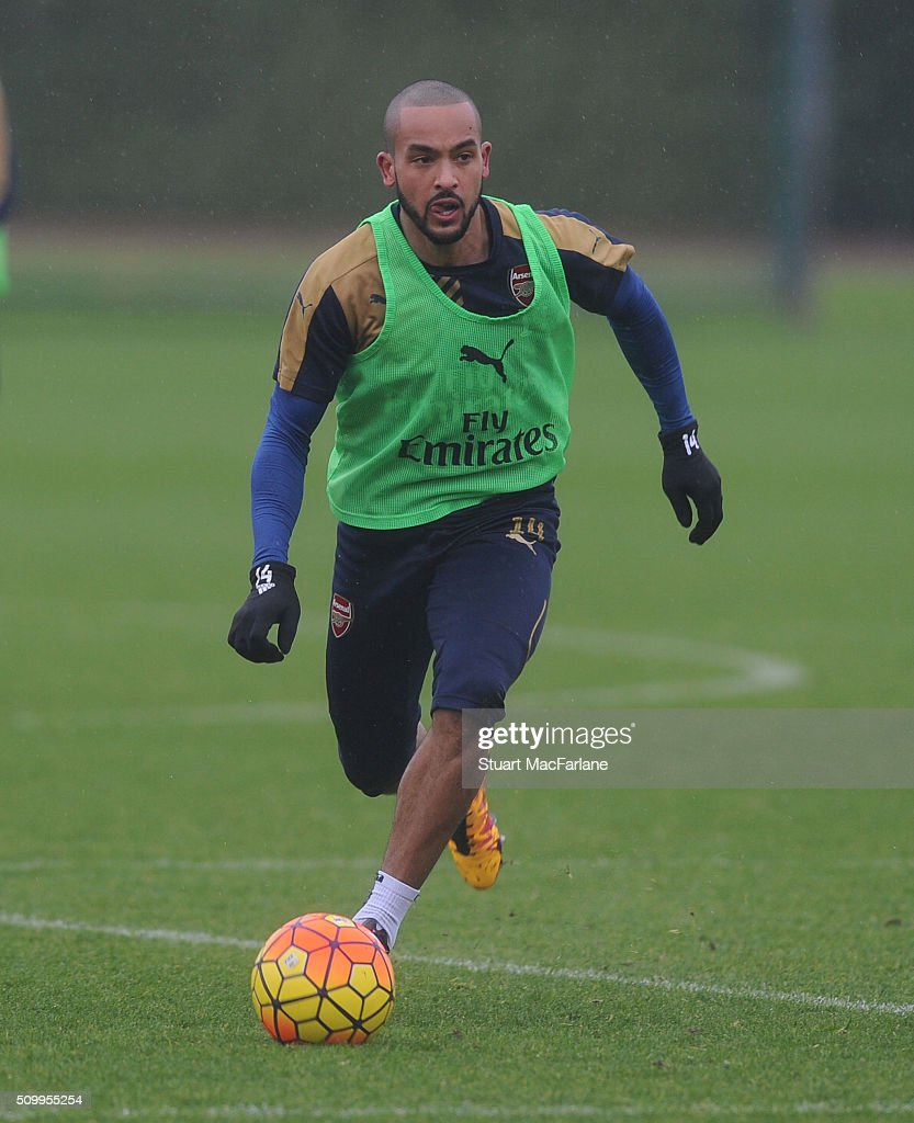 <a gi-track='captionPersonalityLinkClicked' href=/galleries/search?phrase=Theo+Walcott&family=editorial&specificpeople=451535 ng-click='$event.stopPropagation()'>Theo Walcott</a> of Arsenal during a training session at London Colney on February 13, 2016 in St Albans, England.