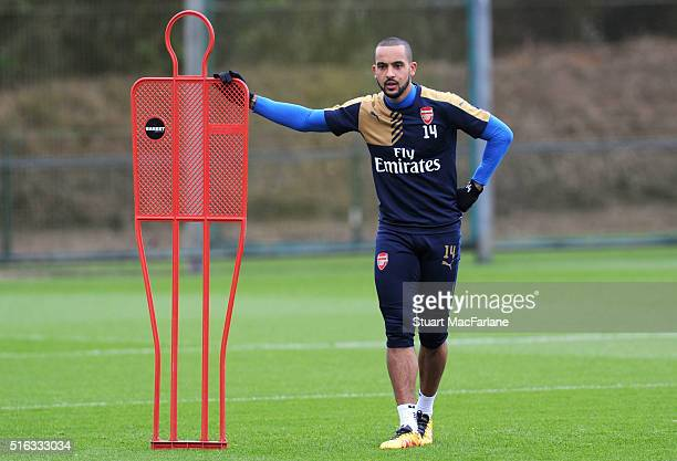 Theo Walcott of Arsenal during a training session at London Colney on March 18 2016 in St Albans England