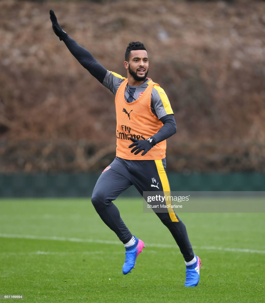 Theo Walcott of Arsenal during a training session at London Colney on March 10, 2017 in St Albans, England.