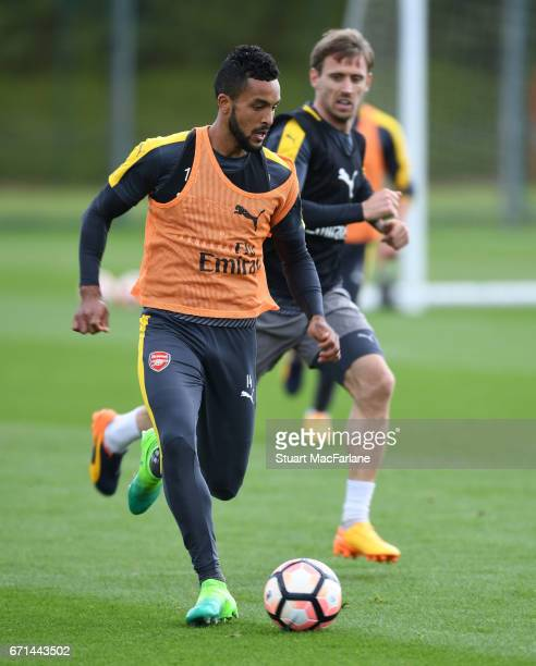 Theo Walcott of Arsenal during a training session at London Colney on April 22 2017 in St Albans England