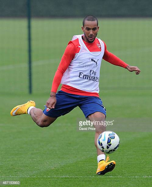 Theo Walcott of Arsenal during the Arsenal 1st team training session at London Colney on October 13 2014 in St Albans England