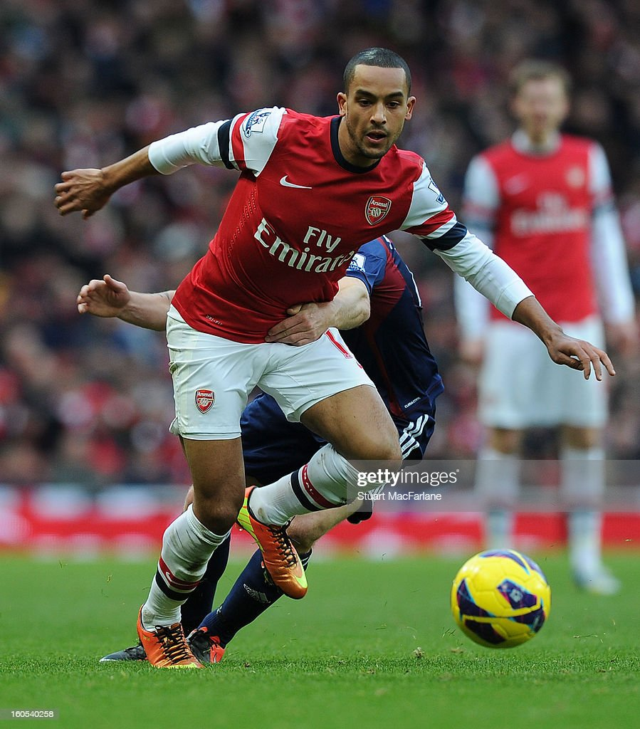 <a gi-track='captionPersonalityLinkClicked' href=/galleries/search?phrase=Theo+Walcott&family=editorial&specificpeople=451535 ng-click='$event.stopPropagation()'>Theo Walcott</a> of Arsenal during the Barclays Premier League match between Arsenal and Stoke City at Emirates Stadium on February 02, 2013 in London, England.