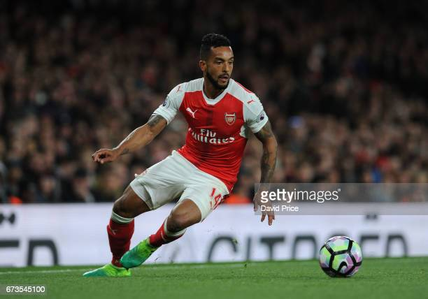 Theo Walcott of Arsenal during the Premier League match between Arsenal and Leicester City at Emirates Stadium on April 26 2017 in London England