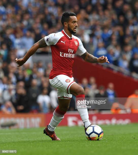 Theo Walcott of Arsenal during the Premier League match between Arsenal and Brighton and Hove Albion at Emirates Stadium on October 1 2017 in London...