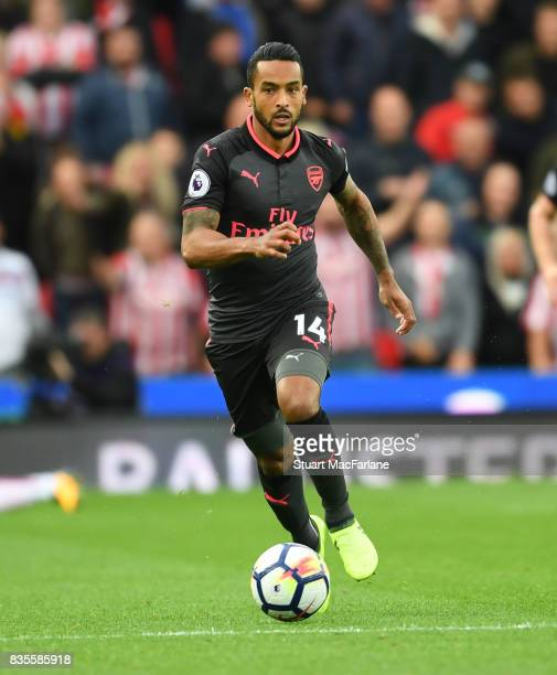 Theo Walcott of Arsenal during the Premier League match between Stoke City and Arsenal at Bet365 Stadium on August 19 2017 in Stoke on Trent England